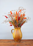 Dried flowers in a ceramic vase Stock Photography