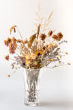 Dried flowers in crystal vase. Royalty Free Stock Photography
