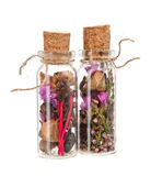 Dried flowers in a flask. Various dried flowers in a flask sealed tube Royalty Free Stock Photos