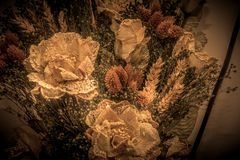 Dried flowers in the foreground, bouquets of dried flowers, flower arrangement. Floral arrangement of dried flowers in a vase, household dried flowers, flash Stock Photo