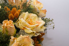Dried flowers in the foreground, bouquets of dried flowers, flower arrangement. Floral arrangement of dried flowers in a vase, household dried flowers, flash Royalty Free Stock Image