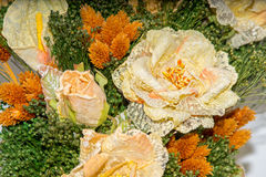 Dried flowers in the foreground, bouquets of dried flowers, flower arrangement. Floral arrangement of dried flowers in a vase, household dried flowers, flash Stock Photography