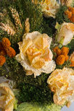 Dried flowers in the foreground, bouquets of dried flowers, flower arrangement Stock Photo
