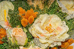 Dried flowers in the foreground, bouquets of dried flowers, flower arrangement. Floral arrangement of dried flowers in a vase, household dried flowers, flash Royalty Free Stock Photo