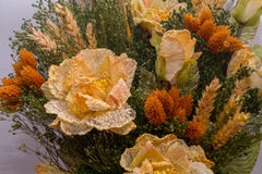 Dried flowers in the foreground, bouquets of dried flowers, flower arrangement. Floral arrangement of dried flowers in a vase, household dried flowers, flash Stock Photos