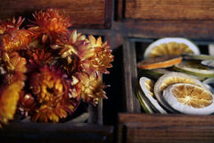 Dried flowers with lemons slices Stock Photography