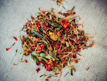Dried flowers Marigolds. Dried and crushed flowers Marigolds close-up filter Stock Photography