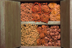 Dried flowers piled. Dried flowers crammed into a small closet Royalty Free Stock Photography