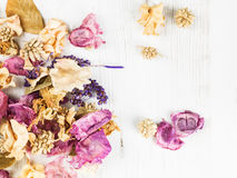 Dried Flowers Potpourri Scented Home Decorations. Looking Down stock photography