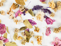 Dried Flowers Potpourri Scented Home Decorations. Looking Down stock images