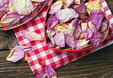 Dried flowers in a red box Stock Photography