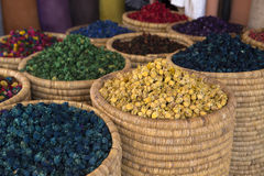 Dried flowers in souks of Marrakech Royalty Free Stock Images