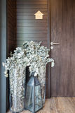Dried flowers in tall vases Stock Photo