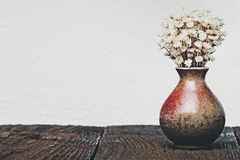 Dried flowers in the vase. For decoration with empty wall in vintage minimalist style stock photos