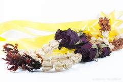 Dried flowers on white background. Rose jasmine  crown flowers dried flowers Royalty Free Stock Photo