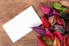 Dried Flowers. On wood with blank card for your text stock image