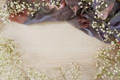 Dried flowers on wooden background stock photos