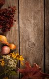 Dried Flowers on a wooden background Autumn thanksgiving Still L Stock Images