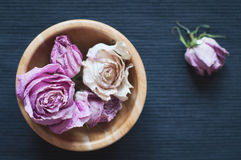 Dried flowers in wooden bowl, selective focus Royalty Free Stock Images