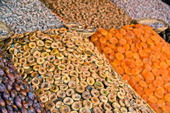 Dried food on the arab street market stall Royalty Free Stock Photo