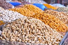 Dried food on the arab street market stall Stock Images