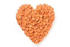 Dried food for dog puppy, with a shape of heart isolated on whit. E background Stock Image