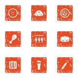 Dried food icons set, grunge style. Dried food icons set. Grunge set of 9 dried food vector icons for web isolated on white background royalty free illustration
