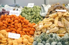 Dried food in a market Royalty Free Stock Images