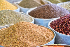 Dried food products on the arab street market stall Stock Photo