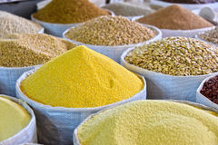 Dried food products on the arab street market stall Royalty Free Stock Photos