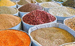 Dried food products on the arab street market stall Royalty Free Stock Images