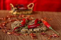 Dried and fresh chilli Royalty Free Stock Photo
