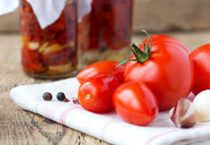 Dried and fresh tomatoes on old wooden table. Dried and fresh tomatoes with garlic and rosemarin on white napkin on old wooden table Stock Photography