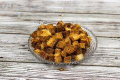 Dried fried bread slices with brown color slide in dishes royalty free stock photography