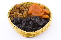 Dried fruit. Are in a small basket Royalty Free Stock Photography