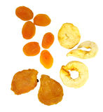 Dried fruit. Healthy fatfree nibble sized bits and  slices of dried fruit mix of papaya apple peach Stock Image