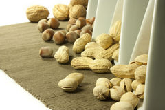 Dried fruit. Peanut pistachios nuts and walnuts Royalty Free Stock Image