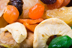 Dried fruit: apples, dried apricots, fig Stock Photos