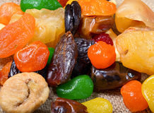 Dried fruit: apples, dried apricots, fig, dates Stock Images