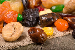 Dried fruit: apples, dried apricots, fig, dates Royalty Free Stock Image