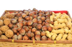 Dried fruit. Autumn basket with dried fruits, nuts, hazelnuts and peanuts Stock Photography