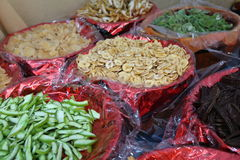 Dried fruit baskets for sale in the market Royalty Free Stock Photography