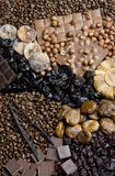 Dried fruit with chocolate and coffee beans. Inside, indoor, indoors, interior, interiors, food, nutritive, nourishment, nutrition, fruits, dry, fig, figs stock photos
