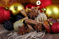 Dried fruit with cinnamon and star anise Royalty Free Stock Images