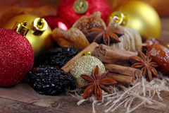 Dried fruit with cinnamon and star anise Royalty Free Stock Image