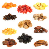 Dried fruit collection. On a white background Royalty Free Stock Photography