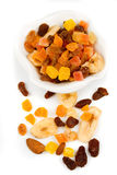 Dried fruit isolated on white Stock Images
