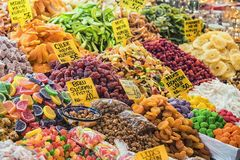 Dried fruit in the market Royalty Free Stock Image