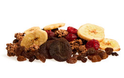 Dried fruit mix. Isolated on white stock photography