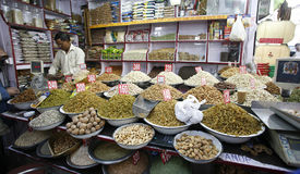 Dried fruit and nut display in spice market Stock Image
